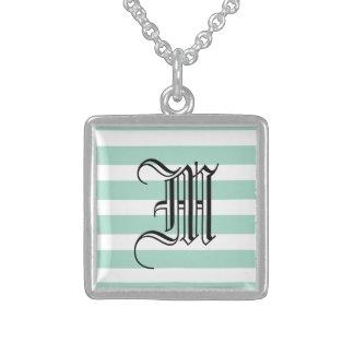 Cute Mint Blue stripe pattern Square Pendant Necklace