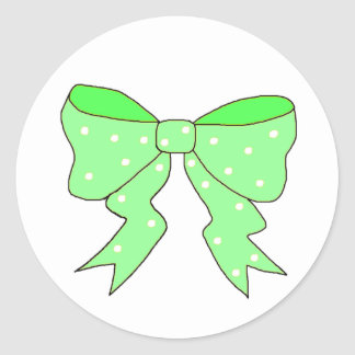 Cute Mint Bow Classic Round Sticker