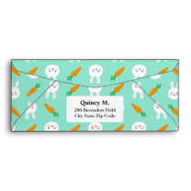 Cute Mint bunnies and carrots easter pattern Envelope