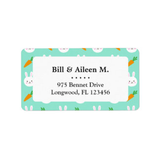 Cute Mint bunnies and carrots easter pattern Label