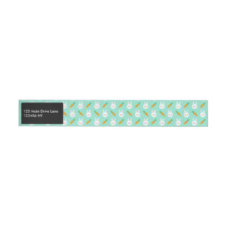 Cute Mint bunnies and carrots easter pattern Wrap Around Address Label
