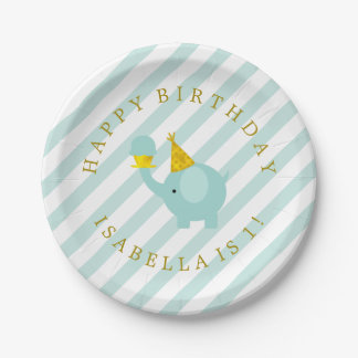 Cute Mint Elephant Personalized Birthday Party Paper Plate