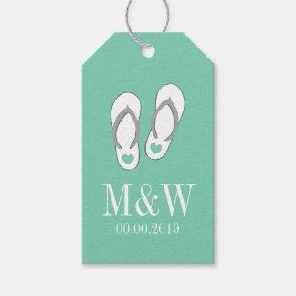 Cute mint flip flops beach wedding favor gift tags