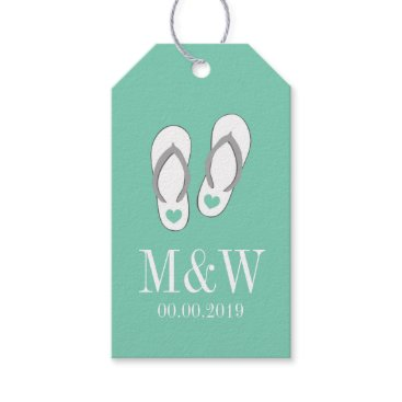 Beach Themed Cute mint flip flops beach wedding favor gift tags