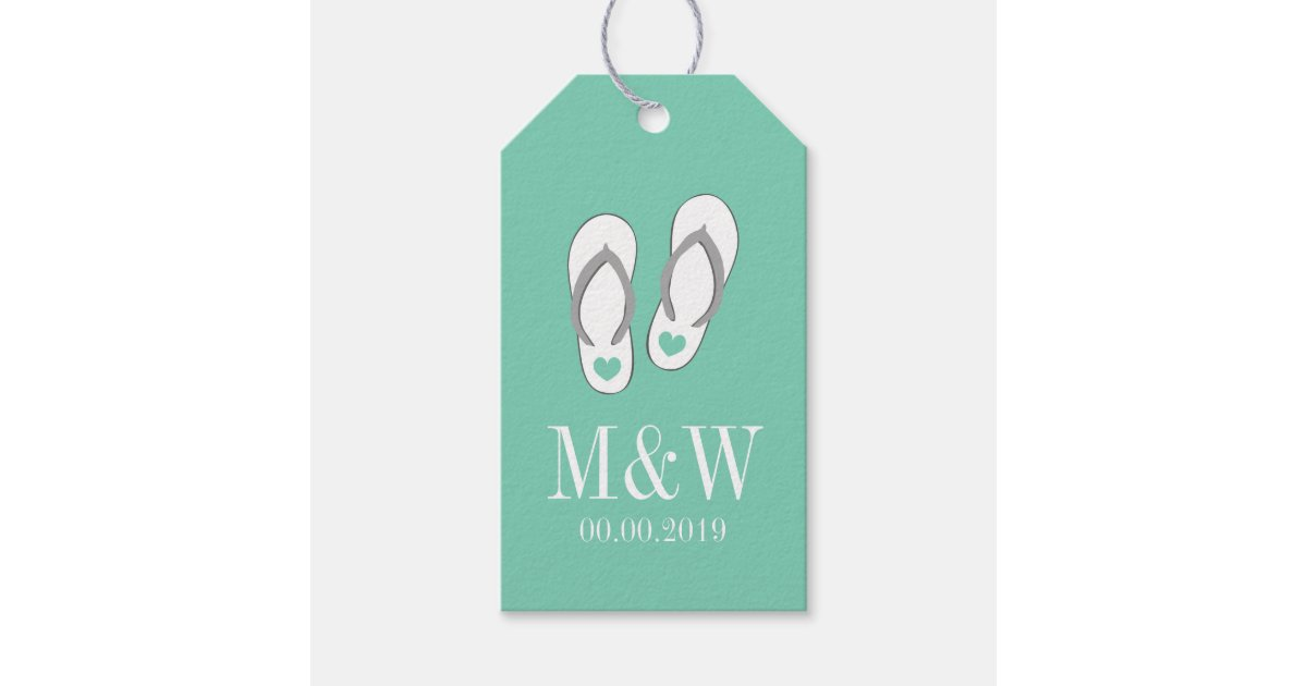 7a4190cf52c7e Cute mint flip flops beach wedding favor gift tags