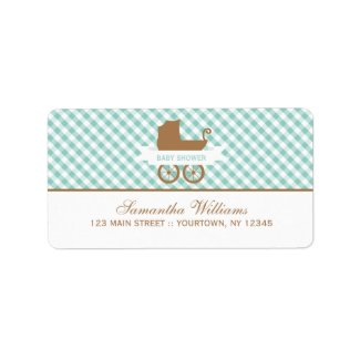 Cute Mint Gingham Pattern and Baby Carriage Custom Address Labels