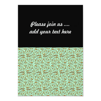 Cute Mint Green and Gold Swirly Vines Pattern 5x7 Paper Invitation Card