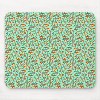 Cute Mint Green and Gold Swirly Vines Pattern Mouse Pad