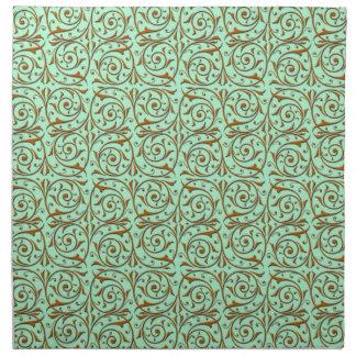 Cute Mint Green and Gold Swirly Vines Pattern Napkin