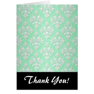 Cute Mint Green and White Floral Damask Pattern Card