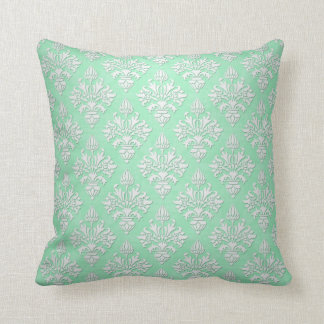 Cute Mint Green and White Floral Damask Pattern Throw Pillow