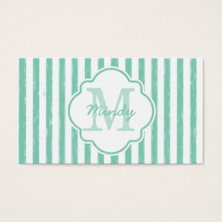 Cute Mint Green Painted Stripes Monogram and Name Business Card