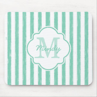 Cute Mint Green Painted Stripes Monogram and Name Mouse Pad