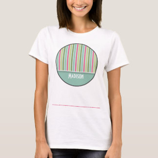 Cute Mint Green & Pink Stripes T-Shirt
