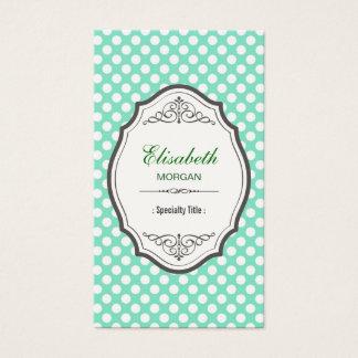 Cute Mint Green Polka Dots Elegant Vintage Frame Business Card