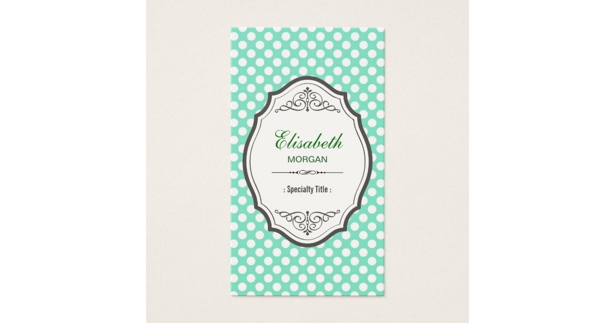 Cute Mint Green Polka Dots Elegant Vintage Frame Business Card ...