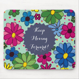 Cute Mint Green with Colorful Floral Inspirational Mouse Pad