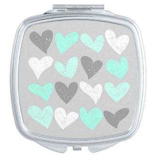 Cute mint grey love hearts makeup mirror