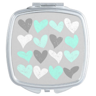 Cute mint grey love hearts mirrors for makeup
