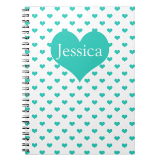 Cute Mint Hearts - Girly Name Notebook