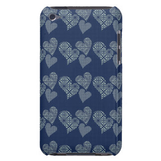 Cute Mint Hearts with Navy Barely There iPod Cover