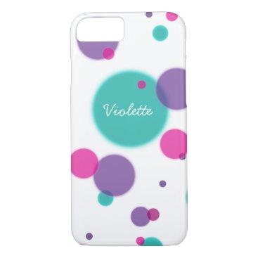 Cute mint pink purple dots monogram personalized iPhone 8/7 case