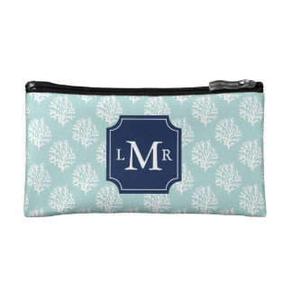 Cute Mint Summer Pattern and Blue Monogram Makeup Bag