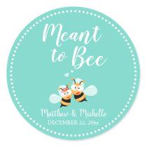 Cute Mint To Be Honey Bee Minimalist Wedding Favor Classic Round Sticker