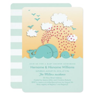 Toddler & Baby themed Cute Mint Whales Couples Baby Shower Invite