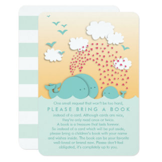 Cute Mint Whales Family Bring a Book Insert Card