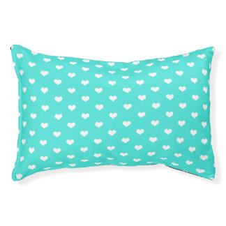 Cute Mint White Hearts - Dog Bed Small Dog Bed