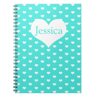 Cute Mint White Hearts - Name Notebook