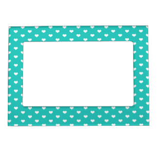 Cute Mint White Hearts Pattern Girly Magnetic Photo Frame