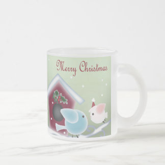 Cute Minty Green Christmas mistletoe Kissing Birds Coffee Mug