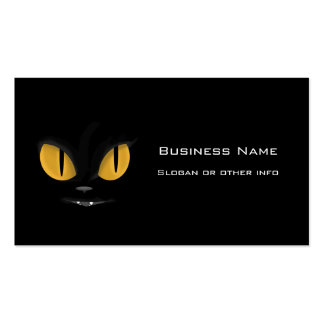 Cute Mischievous Black Cat with Fangs Business Card
