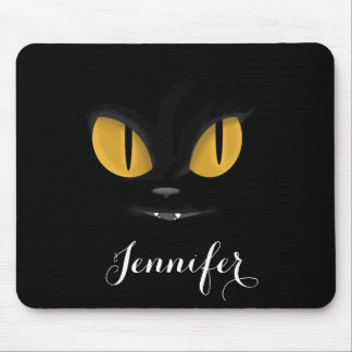 Cute Mischievous Black Cat with Fangs Personalized Mouse Pad