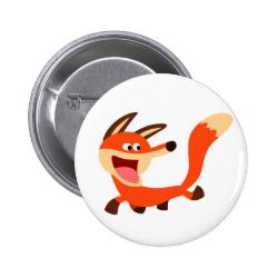Cute Mischievous Cartoon Fox Button Badge