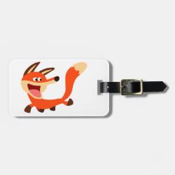 Cute Mischievous Cartoon Fox Luggage Tag