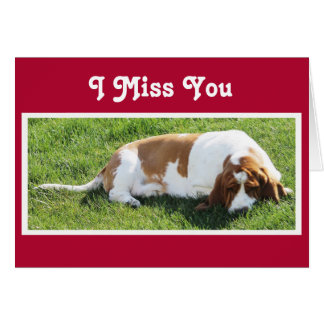 "Cute ""Missing You"" Card w/Basset Hound & Cupcake"