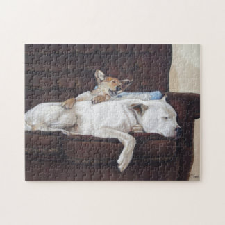 Cute mixed breed puppy and white dog sleeping art jigsaw puzzle