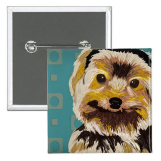 Cute Mixed Maltese in Brown and Yellow Tones Pinback Button