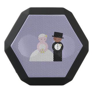 Cute mixed wedding couple black bluetooth speaker