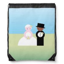 Cute mixed wedding couple drawstring bag