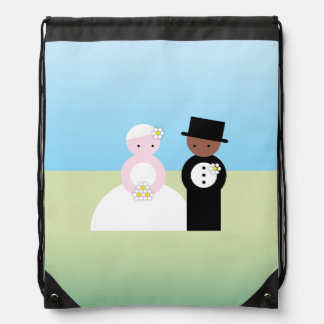 Cute mixed wedding couple drawstring bag