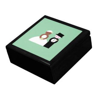 Cute mixed wedding couple gift box