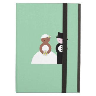 Cute mixed wedding couple iPad air covers