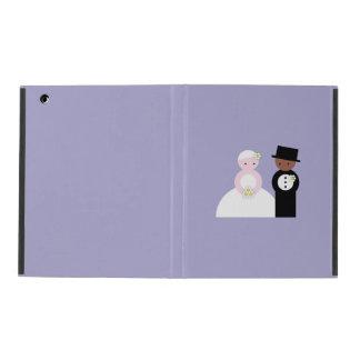 Cute mixed wedding couple iPad folio cases