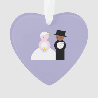 Cute mixed wedding couple ornament