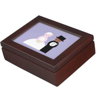 Cute mixed wedding couple keepsake boxes