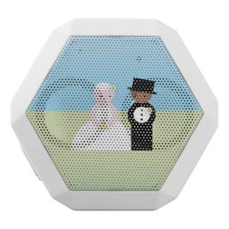 Cute mixed wedding couple white bluetooth speaker